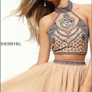 Sherri Hill Halter Top Two Piece Prom Dress